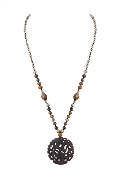 Natural Stone Chinese-style Pendant Necklaces N3475