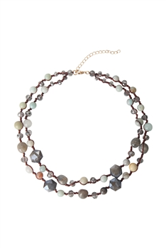 Layered Stone Necklace N3481 - Labradorite