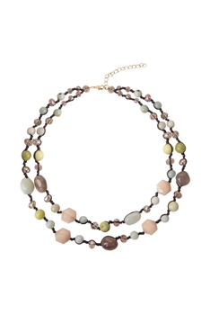 Layered Stone Necklace N3481 - Moonstone