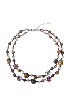 Layered Stone Necklace N3481 - Tiger Eye