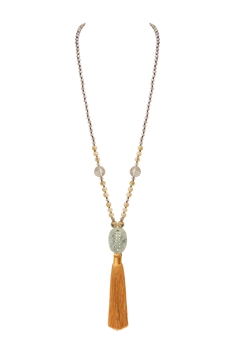 Bead Crystal Tassel Stone Long Necklaces N3483