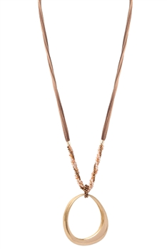 Hollow Oval Pendant Necklace N3491