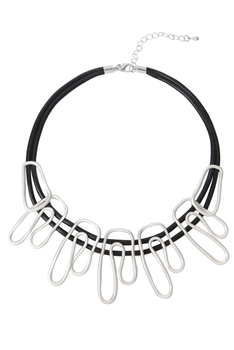 Metal Wave Shaped Choker Necklace N3495