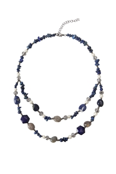 Natural Stone Double-layer Necklaces N3504 - Blue