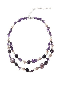 Natural Stone Double-layer Necklaces N3504 - Purple