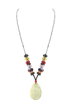 Lemon Jade Pendant Necklace N3508