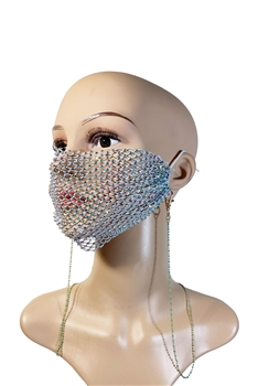 Metal Seed Beads Mask Holder N3533 - Blue