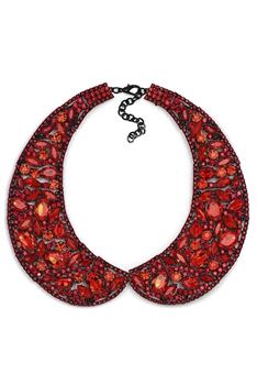 Rhinestone Collar Necklaces N3547 - Red