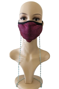 Crystal Beads Mask Holder N3563 - Blue