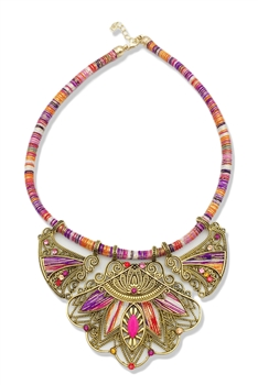 Boho Crystal Alloy Necklace N3570 - Purple