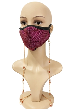 Seed Beads Mask Holder N3574 - Orange