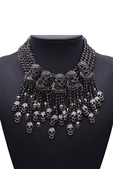 Alloy Skull Tassel Necklaces N3576