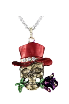Alloy Skull Pendant Necklace N3626