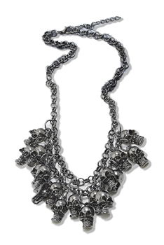Alloy Skull Tassel Necklaces N3644 - Gun Metal