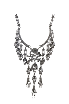 Alloy Skull Tassel Necklaces N3651 - Gun Metal