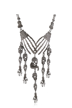 Alloy Skull Tassel Necklaces N3652