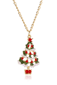 Christmas Tree Alloy Pendant Necklace N3656