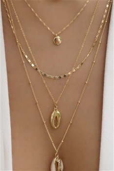 Shell Multilayer Chains Necklace N3671