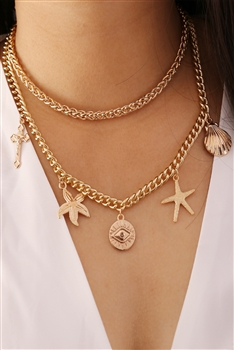 Against Evil Eye Multilayer Chains Necklace N3672