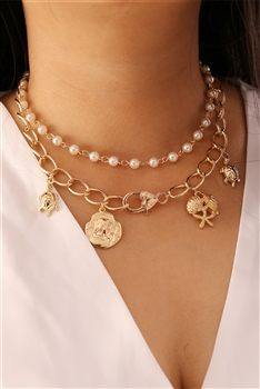 Seafish Multilayer Chains Necklace N3673