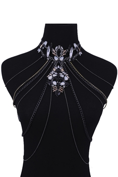 Crystal Body Chains Necklaces N3694 - Black