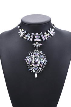 Hollow Floral Crystal Choker Neckalces N3704
