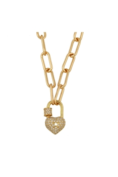 Zircon Lock Pendant Necklace N3713 - A