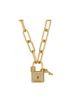 Zircon Lock Pendant Necklace N3713 - B