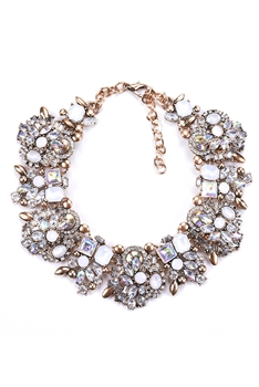 Rhinestone Choker Necklace N3714 - White