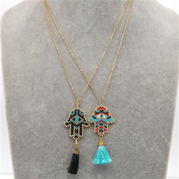 Fatima Palm Tassel Necklaces N3716