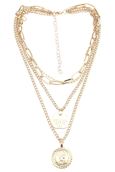 Multilayer Coins Chains Necklace N3729