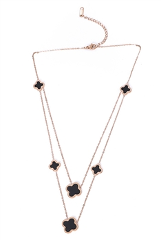 Clover Stainless Steel Multilayer Necklace N3737