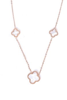 Clover Stainless Steel Multilayer Necklace N3738