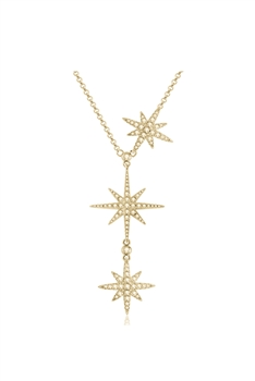 Stainless Steel Star Chains Neckalce N3739 - Gold