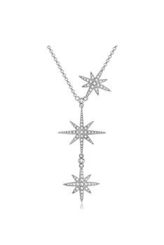 Stainless Steel Star Chains Neckalce N3739 - Silver