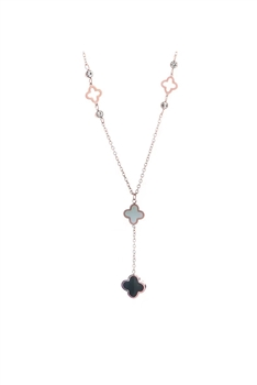 Clover Stainless Steel Chains Neckalce N3740 - Rose Gold