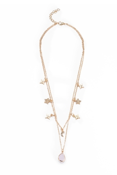 Moon & Star Double Layer Necklaces N3743