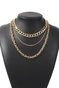 Multilayer Alloy Chains Necklace N3760