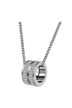 Stainless Steel Circle Pendant Necklace N3766 - Silver