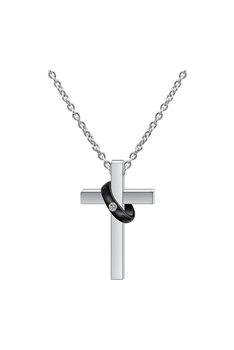 Stainless Steel Cross Necklace N3767 - Black