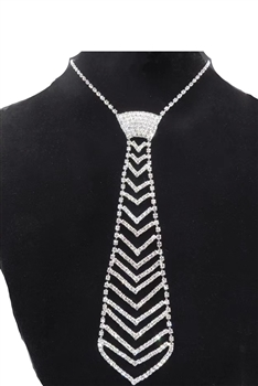 Tie Rhinestone Necklace N3788