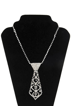 Tie Rhinestone Necklace N3790