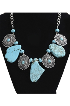Turquoise Irregular Alloy Necklace N3794