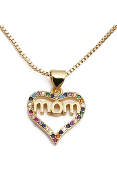 Love MoM Zircon Necklace N3829 - Gold