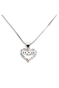 Love MoM Zircon Necklace N3829 - Silver
