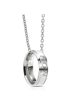 Dad Mom Rings Stainless Steel Necklace - MOM