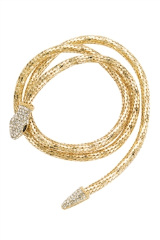 Snake Rhinestone Wrap Necklace N3835 - Gold