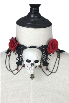 Skull Rose Lace Choker Necklace N3837
