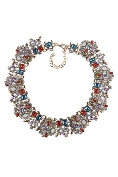 Rhinestone Choker Necklace N3839 - Multi