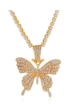 Rhinestones Butterfly Necklace N3840-S - Gold